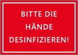 Aufkleber Bitte Hände desinfizieren